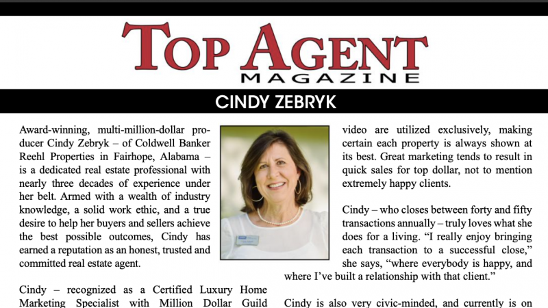 Top Agent Magazine featuring Realtor Cindy Zebryk